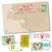 Vintage Christmas Postcard With Stamps - For Scrapbook, Design, Invitation, Greetings