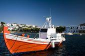 Fishing Boat In Harbor Greek Islands