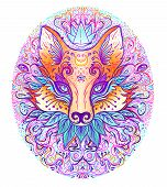 Cute Fox Face Over Psychedelic Ornate Pattern. Character Tattoo Design For Pet Lovers, Artwork For P poster