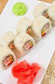 sushi roll of shrimp