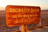 Badwater Basin Elevation Sign