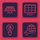 Set Line Solar Energy Panel, Light Bulb With Leaf, Solar Energy Panel And Human Hands Holding Earth  poster