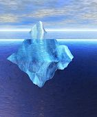 Floating Iceberg In The Open Ocean With Horizon During The Day Daylight