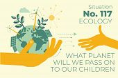 Ecological Illustration. In Hands Of Man Planet Earth.  Alternative Types Of Energy. Modern Eco Frie poster