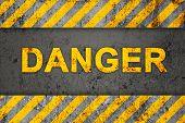 Grunge Black And Orange Pattern With Warning Text (danger)