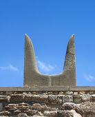 stock photo of minotaur  - Sacred Minotaur horns stone symbol Knossos palace Crete Greece - JPG