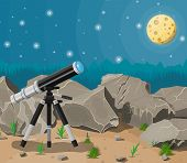 Observation Through Spyglass. Nature Mountain Landscape With Telescope, Moon And Stars. Astronomy, R poster