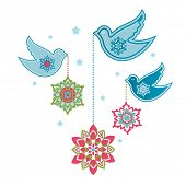 image of windchime  - Pretty doves with hanging flowers  - JPG
