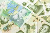 A Close Up Image Of A Green Romanian One Leu Bank Note On A Background Of Chinese One Yuan Bank Note poster