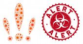Coronavirus Mosaic Alert Icon And Rounded Rubber Stamp Watermark With Alert Caption. Mosaic Vector I poster
