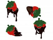Strawberry dripping with fondue chocolate
