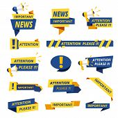 Important Badges. Attention Notice Announcement Stickers Vector Collection Stylized Promotional Grap poster