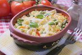 Baked pasta with vegetables, classic italian recipe