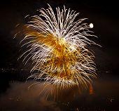 Feier im Sommer mit Feuerwerk