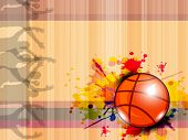 Illustration of Basketball on grungy abstract background with text space for your message. EPS 10.