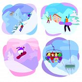 Ski Resort Vector Active People Characters Skiing, Snowboarding On Slopes. Illustration Set Of Extre poster