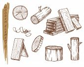 Isolated Sketch Of Wooden Elements, Vintage Lumber poster