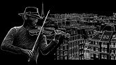Vector illustration of a violinist on a background of roofs in Paris