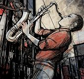 Vector illustration of saxophonist playing saxophone in a street