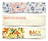 Back to School vector banners with drawings, doodles and letters