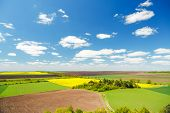 Picturesque rural area on the springtime and fluffy white clouds on a sunny day. Location place of U poster