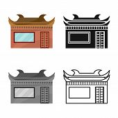 Vector Design Of Temple And Hanoi Symbol. Collection Of Temple And Vietnamese Stock Symbol For Web. poster