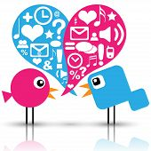 pic of heart sounds  - Illustration of bird communication with social media icons - JPG