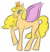 Vector Cartoon Pony. Cartoon Character Pegasus. Lovely Pony With Wings And Crown. poster