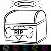 image of urn funeral  - An image of a dog cremation box - JPG
