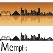 image of memphis tennessee  - Memphis skyline in orange background in editable vector file - JPG