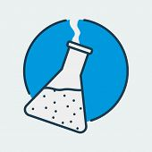 Vector Icon Of A Chemical Flask. It Represents Laboratory Research, Scientific Discoveries And Medic poster