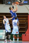 0KAPOSVAR, HUNGARY - FEBRUARY 22: Unidentified players in action at a Hungarian Cup basketball game