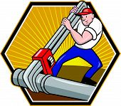Plumber Worker With Adjustable Wrench Cartoon
