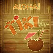 Retro Design Tiki Bar Menu com fundo de madeira