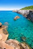 Ibiza Canal d en Marti Pou des Lleo beach in balearic islands of Mediterranean sea