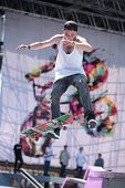 MOSCOW, RUSSIA - JULY 8: Alexey Bobrov in skateboarding competition during Adrenalin Games in Moscow