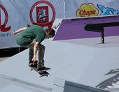 MOSCOW, RUSSIA - JULY 8: Yegor Golubev, Russia, in skateboarding competition during Adrenalin Games