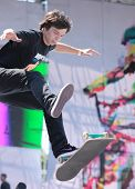 MOSCOW, RUSSIA - JULY 8: Gennady Kakusha, Russia, in skateboard competitions during Adrenalin Games