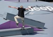MOSCOW, RUSSIA - JULY 8: Florian Westers, Germany, in skateboard competitions during Adrenalin Games