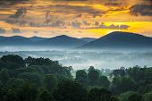 picture of asheville  - Asheville NC Blue Ridge Mountains Sunset and Fog Landscape Photography near the Blue Ridge Parkway in Western North Carolina - JPG