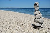 Rock Cairn On Mackinac Island