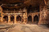 Rockcut Statues of Jain thirthankaras in rock niches near Gwalior fort. Gwalior, Madhya Pradesh, India