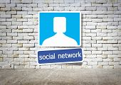 social network and room interior vintage with white brick wall