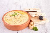 image of pita  - hummus and pita bread - JPG