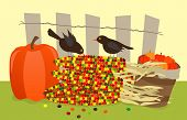 stock photo of bird fence  - Vector illustration of small black birds standing on a pile of colorful corns - JPG
