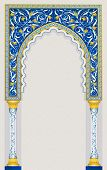 High detailed islamic art arch in classic blue and gold color