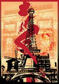 picture of moulin rouge  - Illustration of Tour Eiffel with sexy young woman leg and the Triumph Arch background - JPG