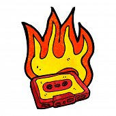 burning cassette tape cartoon