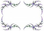 Mardi Gras Colored Fractal Frame With White Copy Space