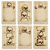 Collection of grunge cards with human skulls and bones